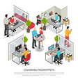 programmers coworking space isometric composition vector image vector image