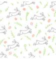 rabbit line seamless pattern vector image vector image