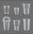 realistic plastic cups mockup set vector image vector image
