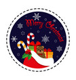 santa claus gift bag merry christmas vector image