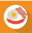 Sausage egg and bacon of fast food concept vector image