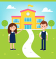 school poster with girl and boy wearing uniform vector image vector image
