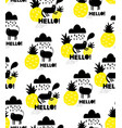 seamless background with black cats and yellow vector image vector image