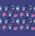 seamless pattern with cartoon owls in winter hats vector image