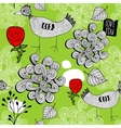 Seamless pattern with red roses and doodle birds vector image vector image