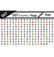 set 207 country flag pin vector image vector image