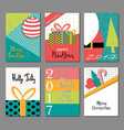 set merry christmas and new year flat design vector image