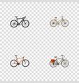 set of bike realistic symbols with postman woman vector image vector image