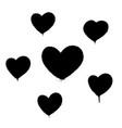 sprayed graffiti hearts set in black on white vector image vector image
