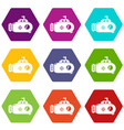 submarine transport icons set 9 vector image vector image