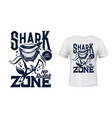 t-shirt print with shark animal mascot vector image vector image