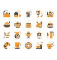 tea simple color flat icons set vector image