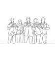 team work goal concept one single line drawing vector image