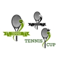 Tennis emblems with rackets and ribbons vector image vector image