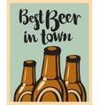 three bottles beer vector image