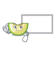 thumbs up with board slice of melon isolated on vector image vector image