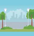 trees lamps street urban city cityscape design vector image