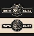 vintage monochrome moto club emblem vector image vector image