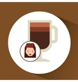 woman cute cup coffee cool graphic vector image