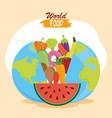 world food day planet filled fruit vegetables vector image vector image