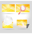 yellow envelope in polygon crumpled paper vector image vector image