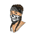 young woman in scary mask and bandana vector image vector image