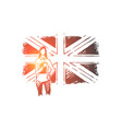 young woman standing great britain flag vector image