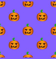 seamless halloween pattern with happy pumpkins vector image