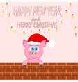 a beautiful animal cartoon pig pink looks at a vector image vector image