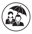 business insurance sign icon with man and woman vector image vector image