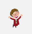 businessman with glasses jumping for joy vector image