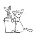 cat hugging a bucket of fish vector image vector image