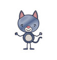 color crayon silhouette caricature of cute cat vector image vector image