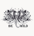 elephant with flourishes and ink spots vector image vector image