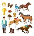 Equestrian Cartoon Elements Collection vector image vector image