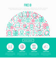 face id concept in half circle vector image vector image