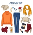 Fashionable Clothing Girl Composition vector image