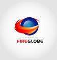 fire globe logo design symbol vector image