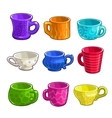 Funny cartoon colorful tea and coffee cups vector image vector image