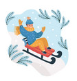 happy boy sledding down hill on snow vector image vector image