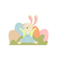 happy cute bunny with colorful eggs happy easter vector image vector image