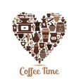 heart with coffee icons vector image