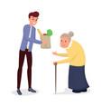 helping elderly people flat vector image