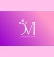 Letter m linked fancy logogram flower logotype