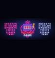 love game neon sign casino slot machines vector image vector image