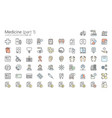 medicine colored outline iconset part 1 vector image vector image