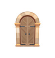 medieval gate door entry oak stone doorway vector image