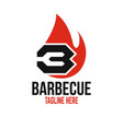 modern barbecue and letter b logo vector image