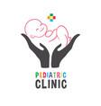 newborn child on hand logo pediatric clinic banner vector image vector image