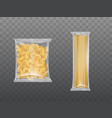 pasta in limpid package set dry macaroni spaghetti vector image vector image